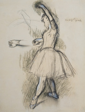 Edgar DEGAS - Drawing-Watercolor - Ballerina on the stage