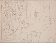Henri MATISSE - Drawing-Watercolor - Le peintre et son modèle