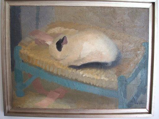 Gregorio DEL OLMO PASCUAL - Pintura - Gatito durmiendo