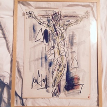 "GEN PAUL - Dessin-Aquarelle - ""christ"""