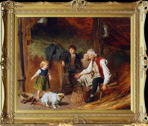 Felix SCHLESINGER - Pintura - Visiting Grandpa's Workshop