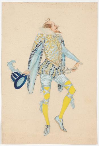 "Rudolf HAFNER - 水彩作品 - ""Stage costume design"" watercolor, 1920s"
