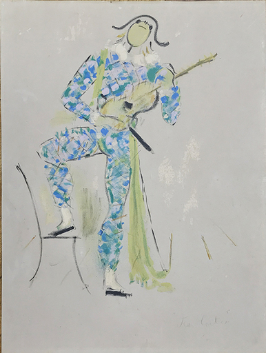 Jean COCTEAU - Grabado - Harlequin Musician