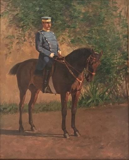 Otto FIKENTSCHER - Peinture - Grossherzoglicher Badischer Kavallerieoffizier hoch zu Ross