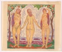 "Josef LACINA - Drawing-Watercolor - ""Bathers"" 1926, watercolor"