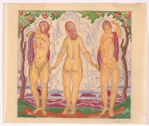 "Josef LACINA - Dibujo Acuarela - ""Bathers"" 1926, watercolor"