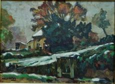 Albert JOSEPH - Pittura - Ferme sous la neige en Limousin
