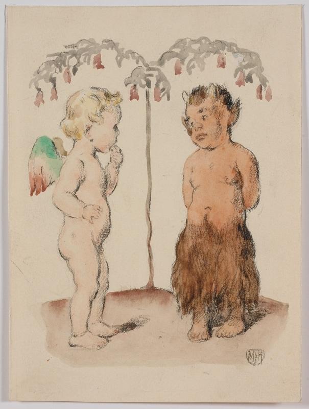 """Paul WASSILY - Disegno Acquarello - """"Friends"""", Watercolor"""