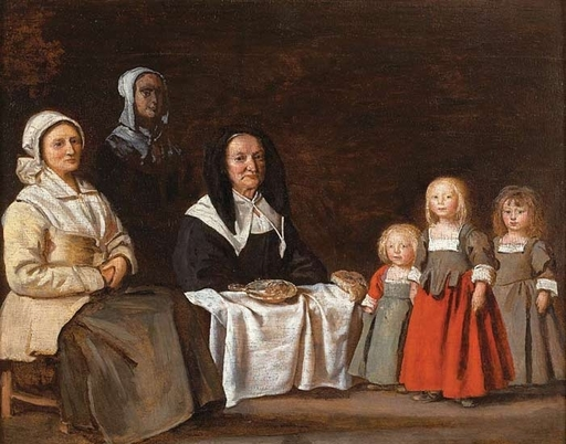 Antoine LE NAIN - Painting - Deux femmes avec trois enfants