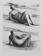 亨利•摩尔 - 版画 - Two reclining figures