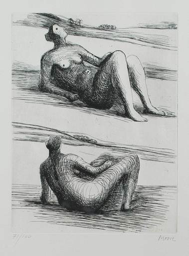 Henry MOORE - Stampa Multiplo - Two reclining figures