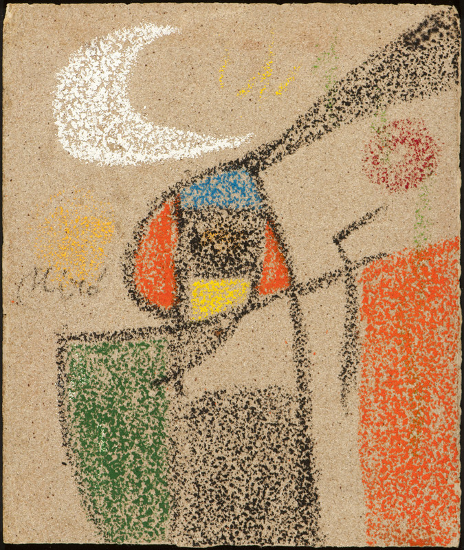 Joan MIRO - Dibujo Acuarela - Femme devant la lune