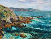 Gustave LOISEAU - Painting - Rochers dominant la mer en Bretagne