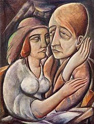 Georg Philipp WÖRLEN - Pintura - Liebende - Selbstportät mit Frau