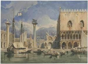 Carl WERNER - Drawing-Watercolor - Der Markusplatz in Venedig, 1840.