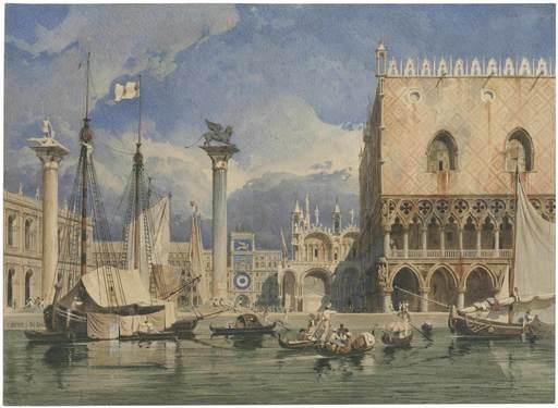 Carl WERNER - Disegno Acquarello - Der Markusplatz in Venedig, 1840.