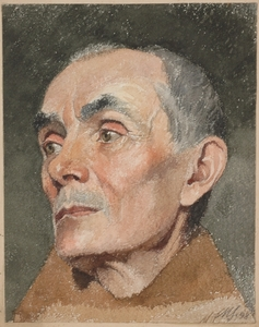 "Maximilian SPILHACZEK - Pittura - ""Portrait of a Priest "" by Maximilian Spilhaczek, Watercolor"