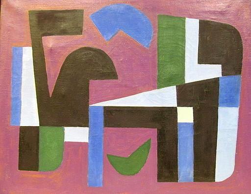 Rolf DIENER - Painting - Auf violettem Grund.