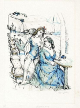 藤田嗣治 - 版画 - Le Mesangre (Deux Femmes)
