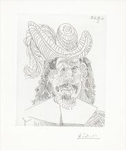 """Pablo PICASSO - Print-Multiple - Portrait de """"Mousquetaire"""" vieillissant"""
