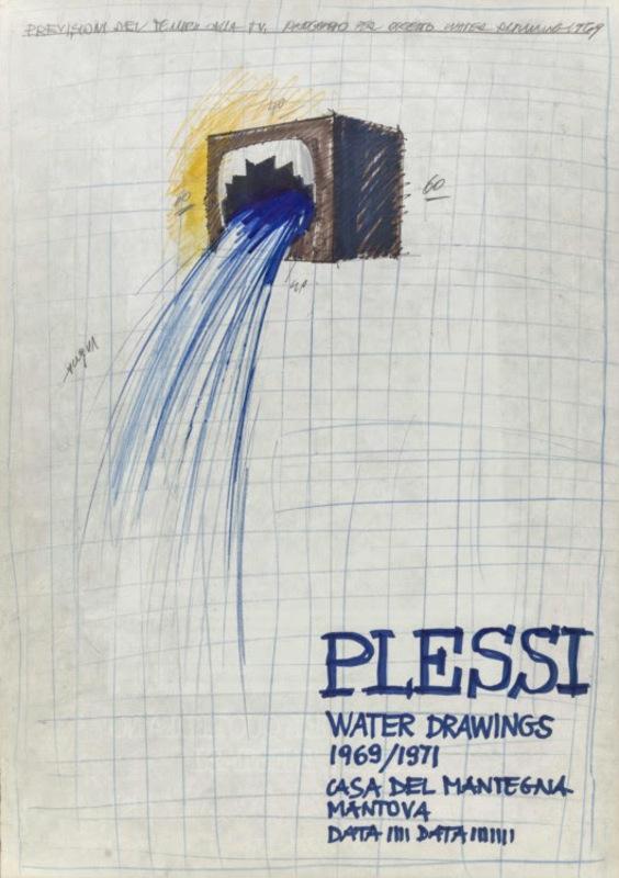 Fabrizio PLESSI - Drawing-Watercolor - Previsioni del tempo alla TV