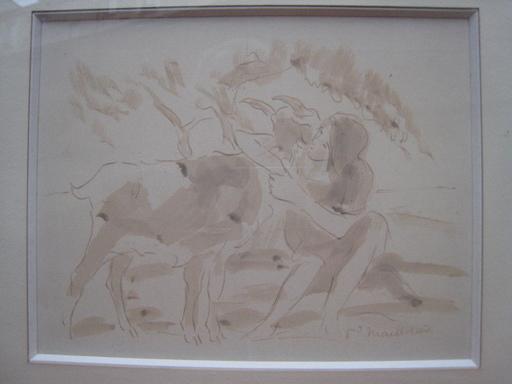 Fernand MAILLAUD - Dessin-Aquarelle - JEUNE FILLE ET CHEVRES