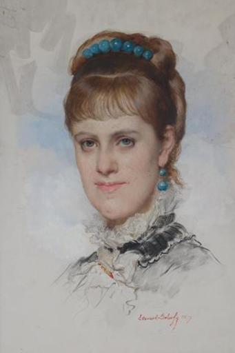 Edouard Louis DUBUFE - Painting - Portrait d'une élégante