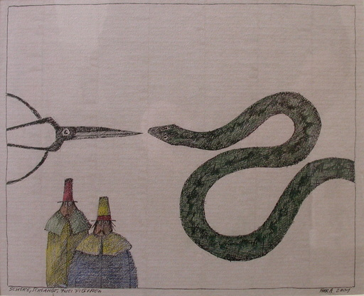 Paul FLORA - Dibujo Acuarela - Schere, Schlange, Zwei Figuren