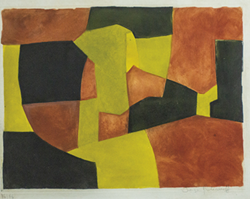 Serge POLIAKOFF - Druckgrafik-Multiple - Composition noire,Jaune et brune