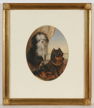 "Emanuel Thomas PETER - Zeichnung Aquarell - ""Portrait of dogs"" rare watercolor! 1.H. of the 19th Century"