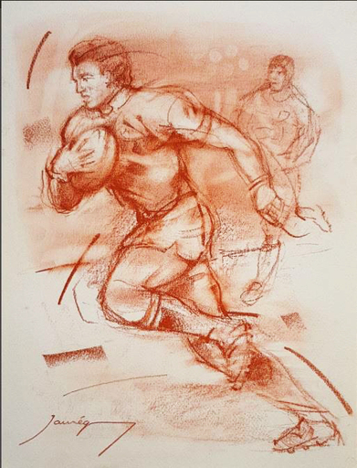 Christian JAUREGUY - Drawing-Watercolor - Rugby 2