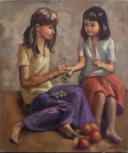 Marc REBIERRE - Peinture - Two Girls Sharing Fruit
