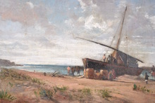 Wilhelm RIEDEL - Painting - Untitled (Boat Disembarkation at a Beach)