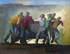 Jules PERAHIM - 绘画 - Personnages, circa 1940