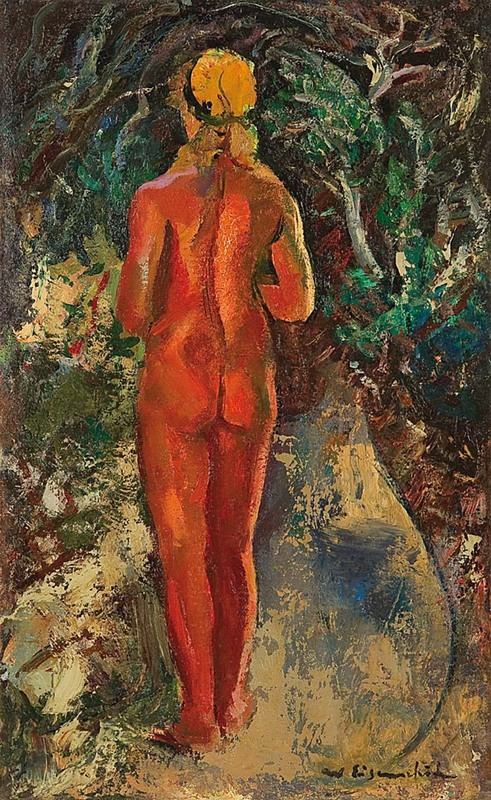Willy EISENSCHITZ - Painting - Stehender Rückenakt