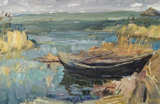 "Vassili KARKOTS - Gemälde - ""Lake View"" Oil Painting by Vasili Karkots"