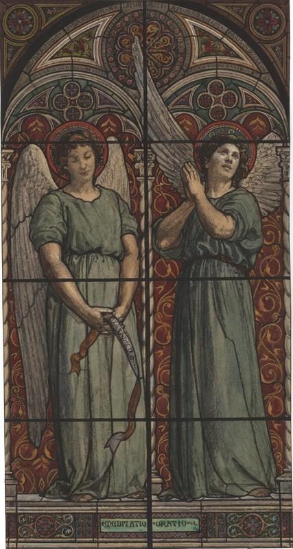 Edouard BRANDON - Drawing-Watercolor - Deux anges dans un vitrail, vers 1858