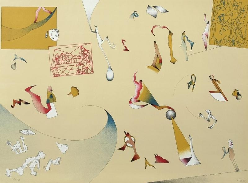 """Jan VOSS - Print-Multiple - """"Hommage à Picasso"""" Farblithografie von fünf Steinen"""