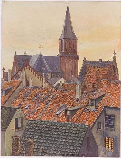 """Josef JUNGWIRTH - Dibujo Acuarela - """"St. Martini Church in Emmerich on Rhein"""""""
