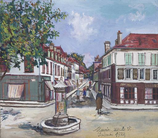 Maurice UTRILLO - Dibujo Acuarela - La Place Saint-Pierre, Orthez