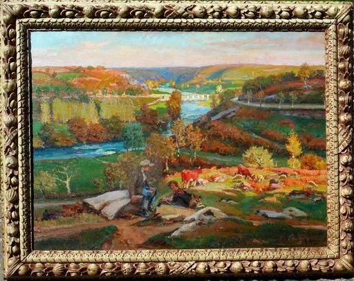 Raoul ADAM - Painting - le pont des piles vers GARGILESSE