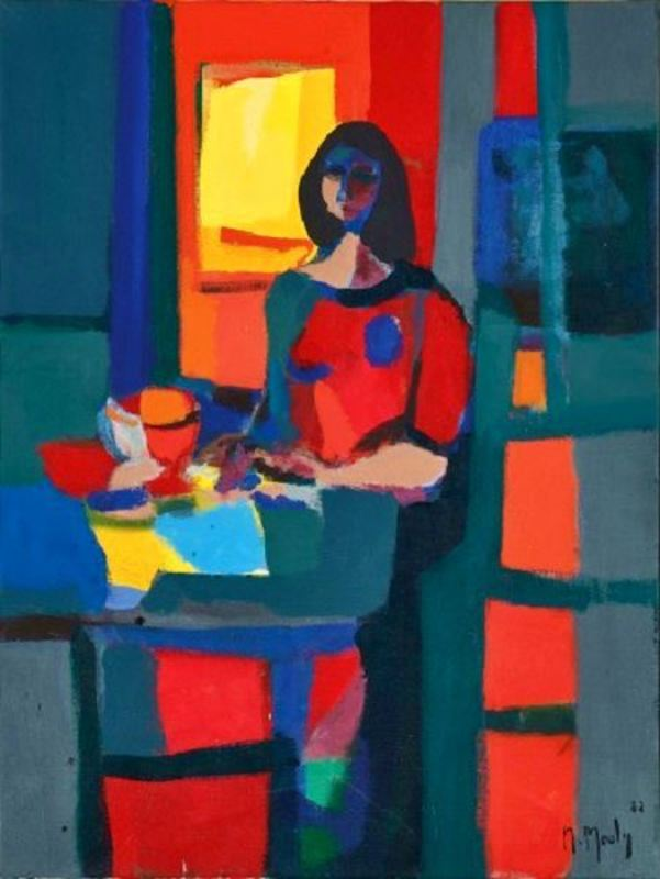 Marcel MOULY - Pittura - Robe Rouge Fond Rouge