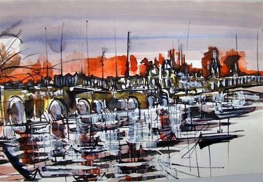 Albert SOCIAS - Painting - Quai de Seine