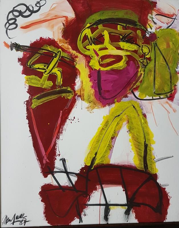 Jürgen MESSENSEE - Painting - RAUCHENDE FRAU - 1987