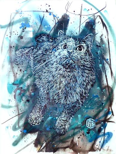 C215 - Peinture - Chat bleu
