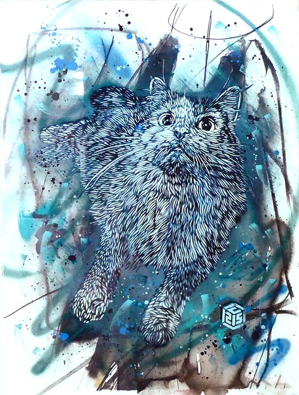 C215 - Gemälde - Chat bleu