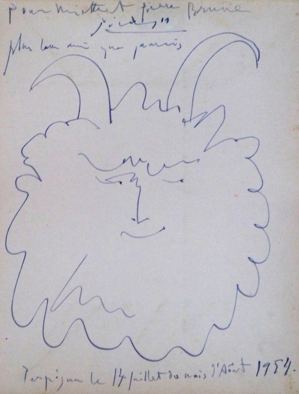 Pablo PICASSO - Dibujo Acuarela - Tete de Faune