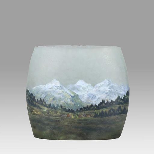 DAUM FRÈRES - Art Nouveau Cameo Glass 'Alpine Vase' by Daum Frères
