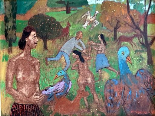 Grégoire MICHONZE - Pittura - Nudes and Birds