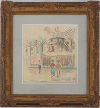 Maurice UTRILLO - Drawing-Watercolor - The Moulin de la Galette and the wasteland